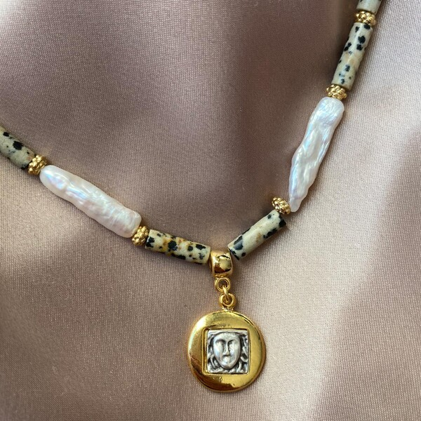 Fi Season - Uzun İncili Madalyon Kolye