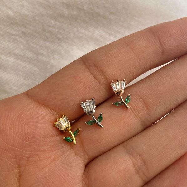 Fi Season - Yapraklı Çiçek Piercing | 925 Gümüş
