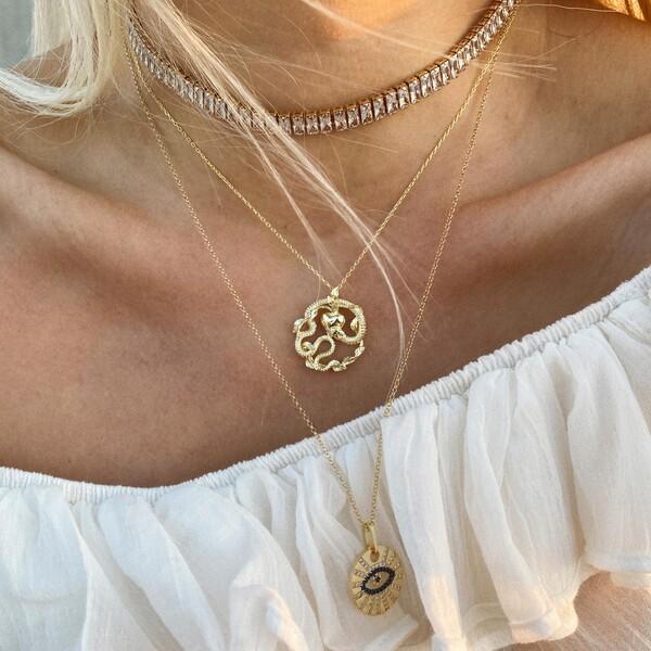 - Yapraklı Yılan Kolye | 925 Gümüş