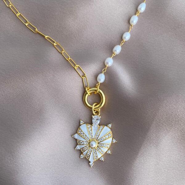Fi Season - Yarısı İncili Zincirli Beyaz Mineli Kalp Kolye   925 Gümüş