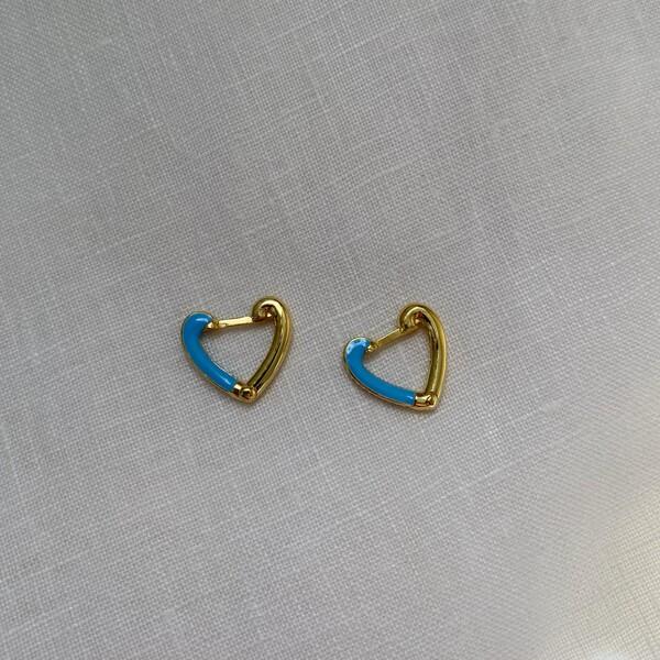 Fi Season - Yarısı Mavi Mineli Kalp Küpe | 925 Gümüş