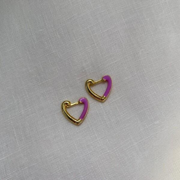 - Yarısı Mor Mineli Kalp Küpe | 925 Gümüş