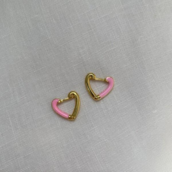 - Yarısı Pembe Mineli Kalp Küpe | 925 Gümüş