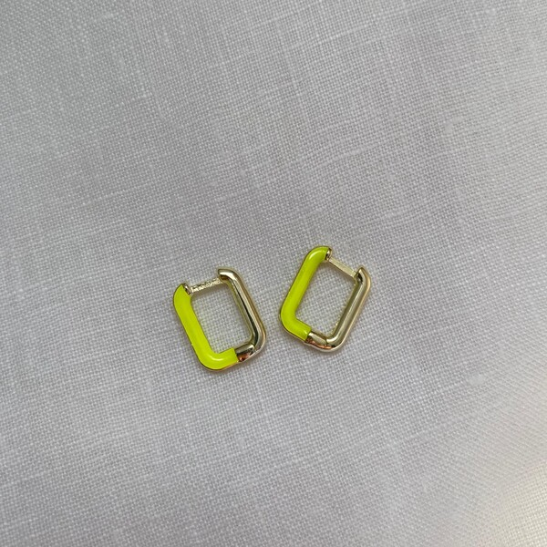 Fi Season - Yarısı Sarı Mineli Dikdörtgen Küpe   925 Gümüş