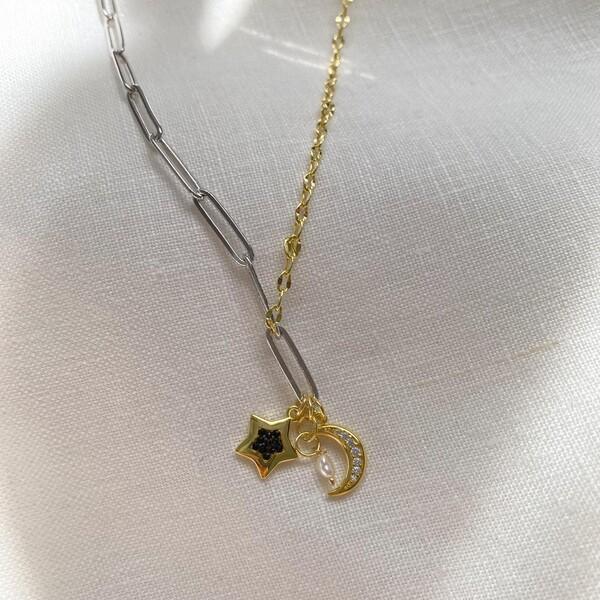 Fi Season - Yarısı Sarı Zincirli Hilalli Yıldız Kolye | 925 Gümüş