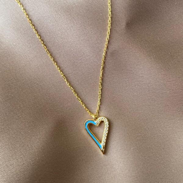 Fi Season - Yarısı Taşlı Mavi Mineli Kalp Kolye | 925 Gümüş