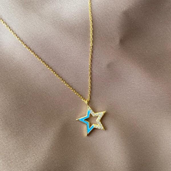 Fi Season - Yarısı Taşlı Mavi Mineli Yıldız Kolye | 925 Gümüş