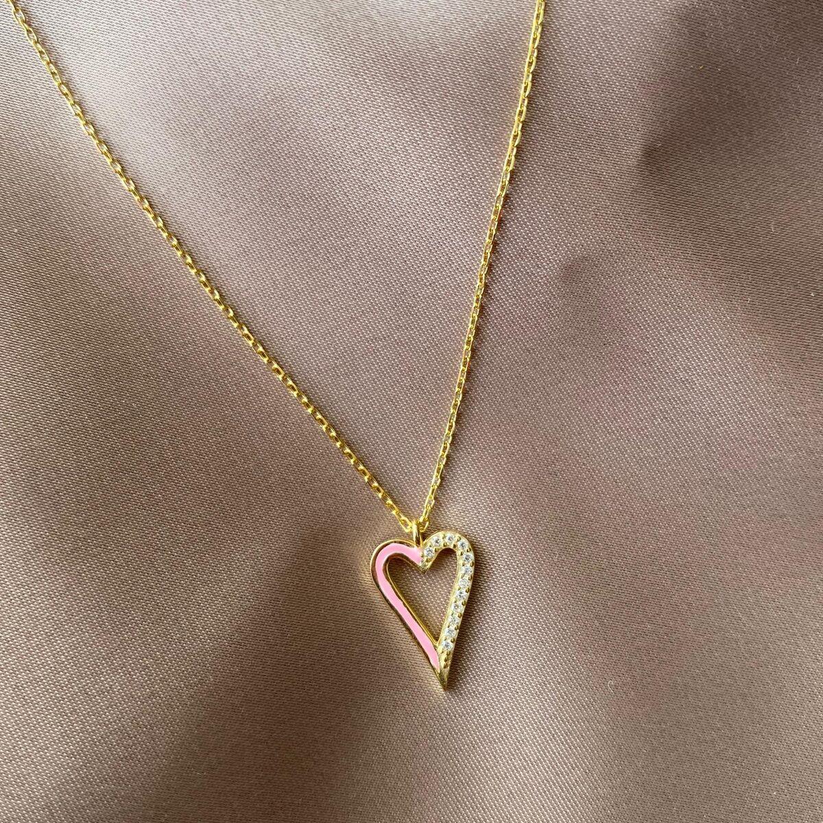 Yarısı Taşlı Pembe Mineli Kalp Kolye   925 Gümüş