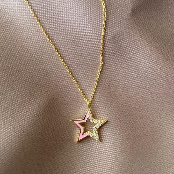 Fi Season - Yarısı Taşlı Pembe Mineli Yıldız Kolye | 925 Gümüş