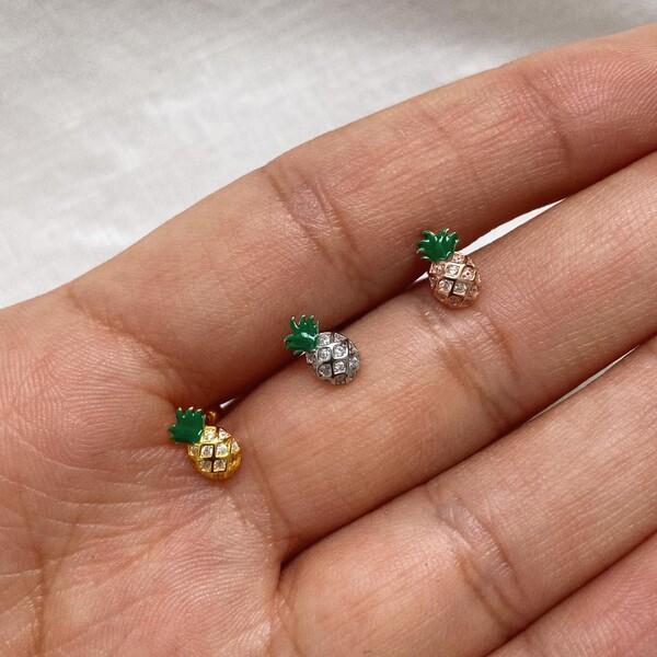 Fi Season - Yeşil Mineli Ananas Figürlü Piercing | 925 Gümüş