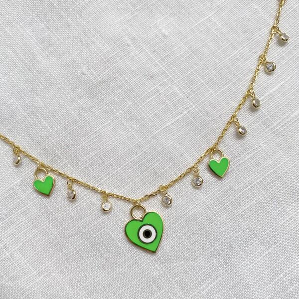 Fi Season - Yeşil Mineli Gözlü Kalpli Halhal | 925 Gümüş