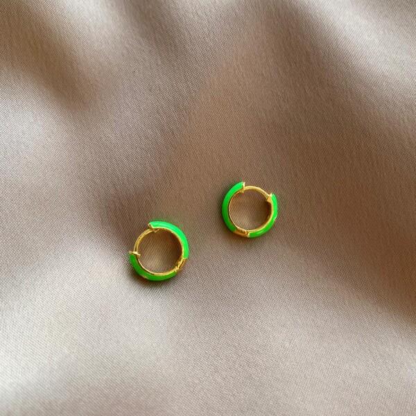 - Yeşil Mineli Halka Küpe | 925 Gümüş