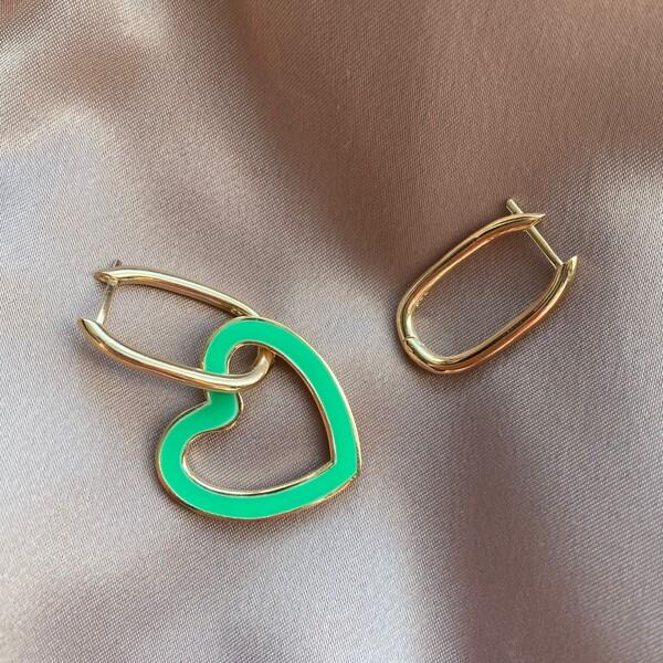 Fi Season - Yeşil Mineli Kalpli Dikdörtgen Küpe | 925 Gümüş