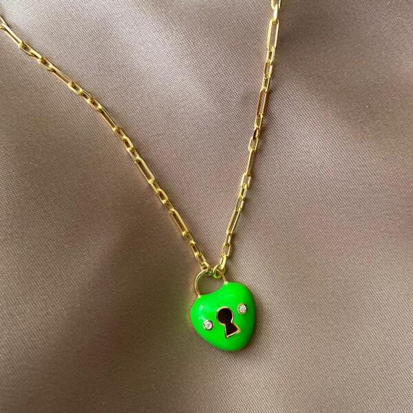 Fi Season - Yeşil Mineli Kilitli Kalp Kolye | 925 Gümüş