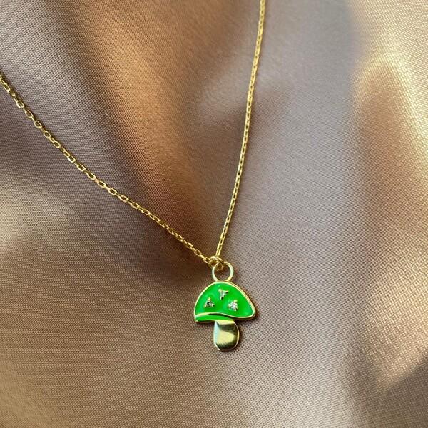 Fi Season - Yeşil Mineli Mantar Figürlü Kolye | 925 Gümüş