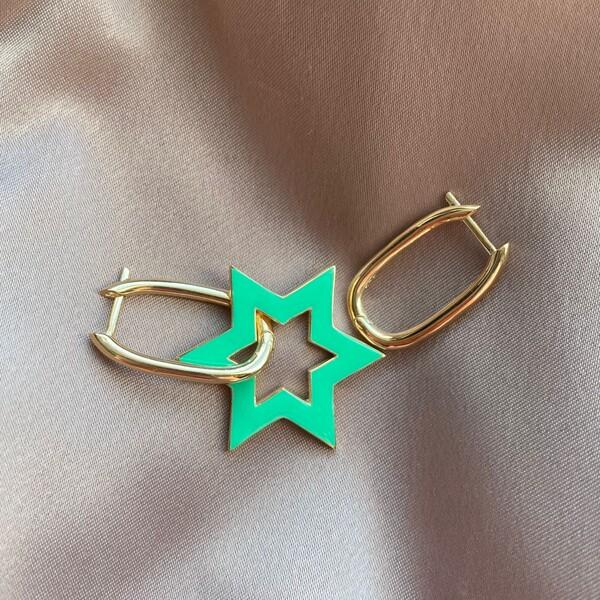 Fi Season - Yeşil Mineli Yıldızlı Dikdörtgen Küpe | 925 Gümüş