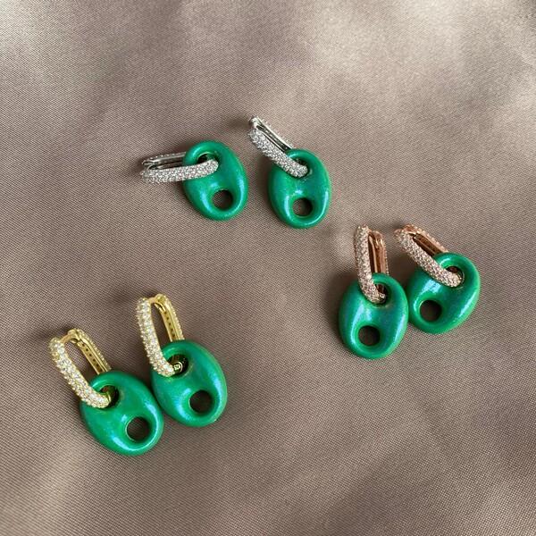 - Yeşil Renkli Halkalı Gemici Küpe   925 Gümüş