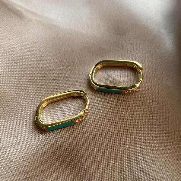 Fi Season - Yeşil Şeritli Dikdörtgen Küpe | 925 Gümüş