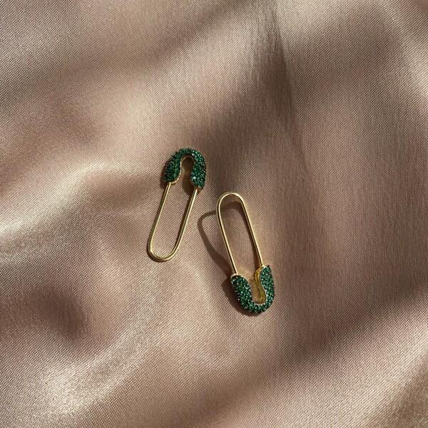 - Yeşil Taşlı Çengelli İğne Küpe | 925 Gümüş