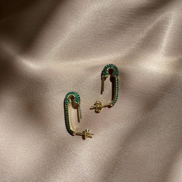 - Yeşil Taşlı Çengelli İğne Küpe 3 | 925 Gümüş