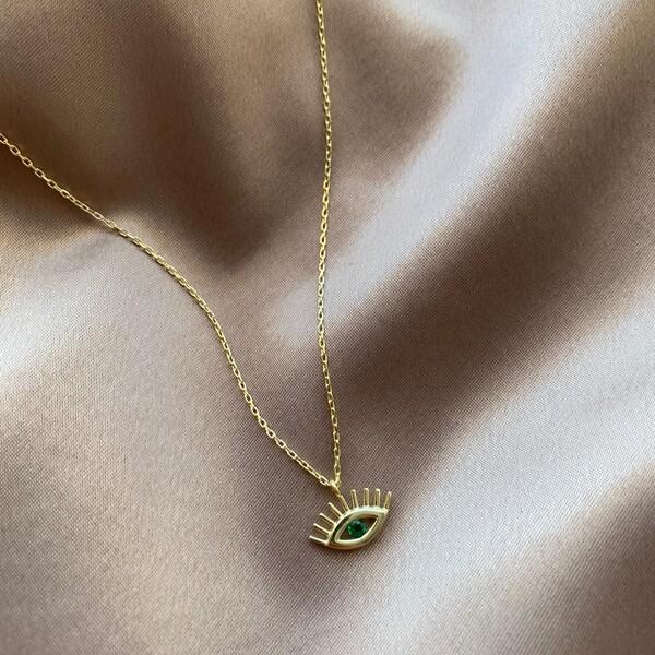 Yeşil Taşlı Göz Kolye   925 Gümüş - Thumbnail
