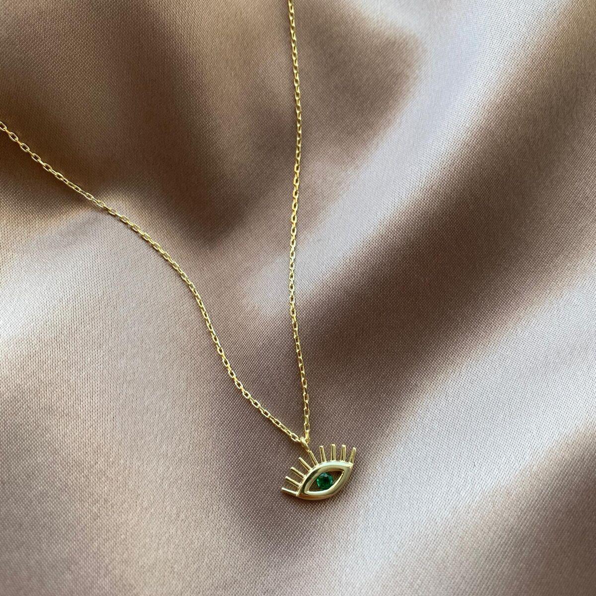 Yeşil Taşlı Göz Kolye   925 Gümüş