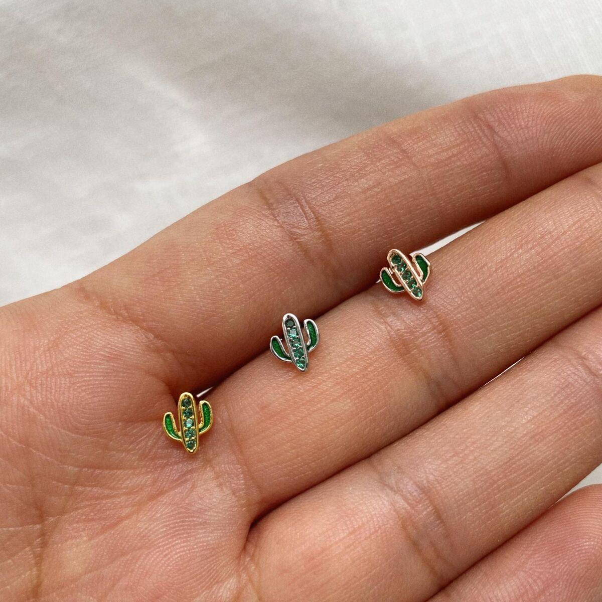 Yeşil Taşlı Kaktüs Piercing | 925 Gümüş