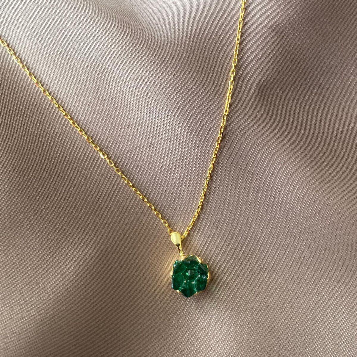 Yeşil Taşlı Lotus Kolye | 925 Gümüş