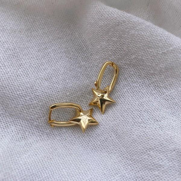 - Yıldızlı Dikdörtgen Küpe | 925 Gümüş