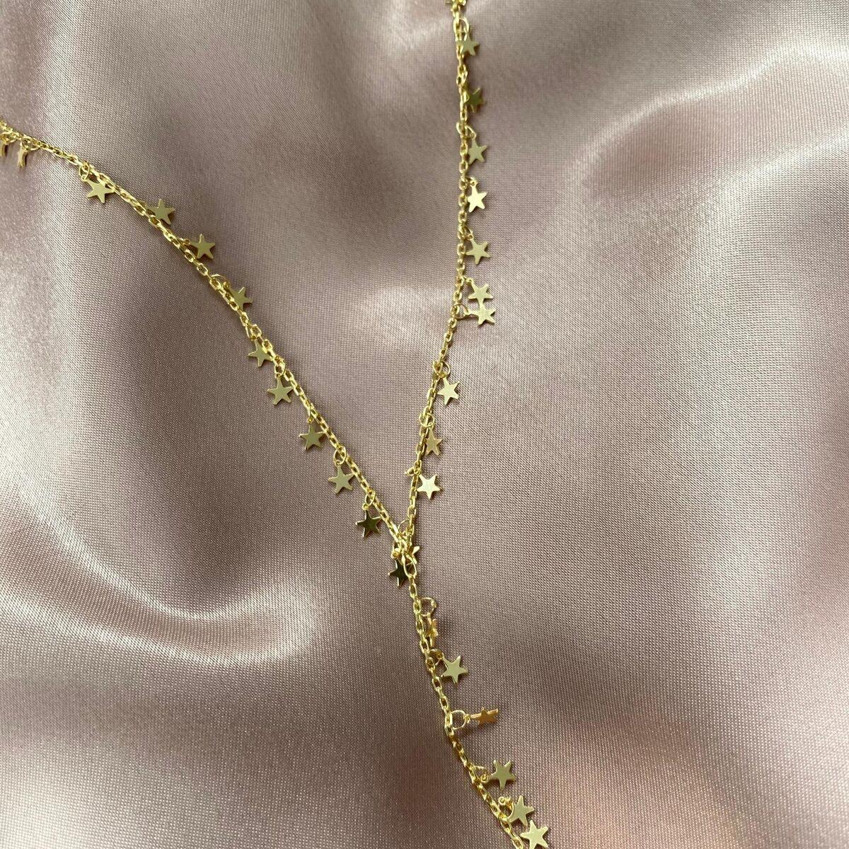 Yıldızlı Y Zincir Kolye | 925 Gümüş