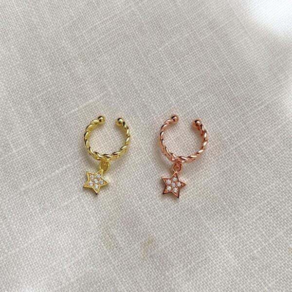 Fi Season - Yıldızlı Zincir Ear Cuff   925 Gümüş