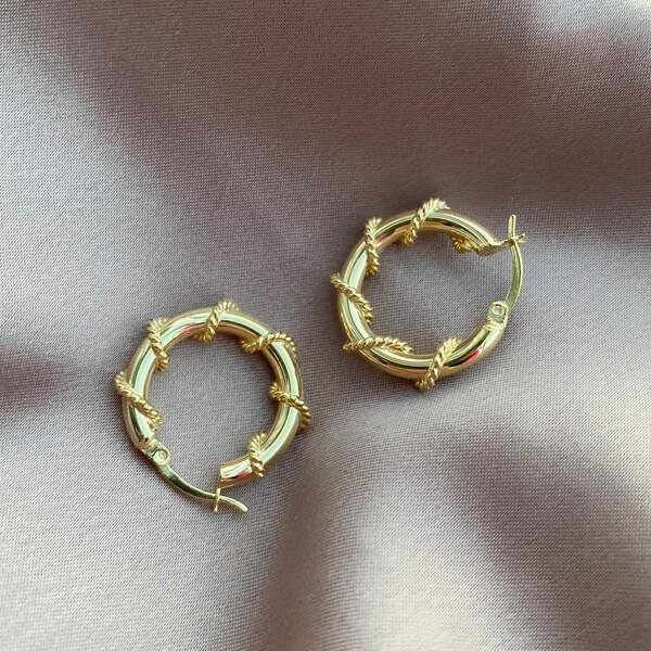 Fi Season - Zincirli Halka Küpe   925 Gümüş