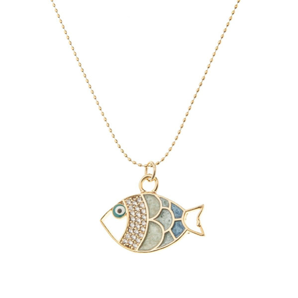 - Zirkon Taşlı Mavi Balık Kolye